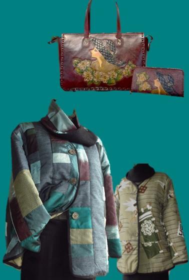 秋を装う二人展 アトリエLee布 和布創作服秋冬×工房『革あそび』手作りバッグと革の小物